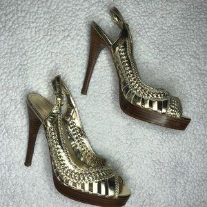 Aldo Gold Strappy Slingback Peep Toe Heels